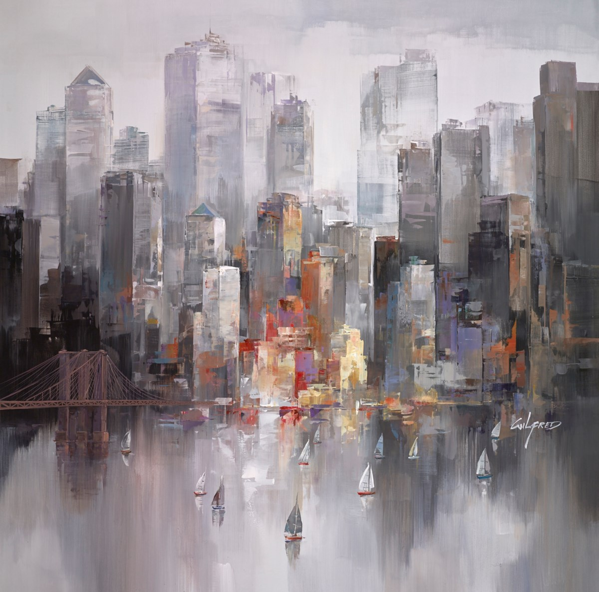 To the City VI by wilfred -  sized 38x38 inches. Available from Whitewall Galleries